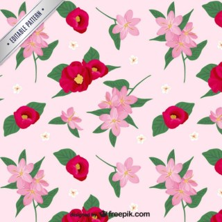 Pink and Red Flowers Pattern Free Vector