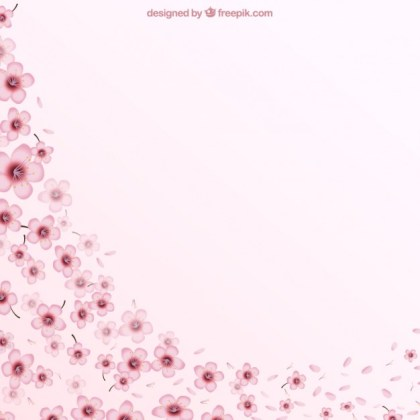 Pink Background with Cherry Blossoms Free Vector