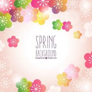 Pink Floral Spring Background Free Vector