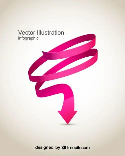 Pink Spiral Arrow Design Free Vector
