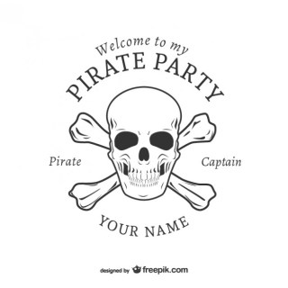 Pirate Party Logo Design Free Vector