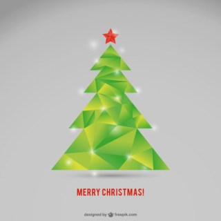 Polygonal Christmas Tree Free Vector