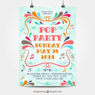 Pop Party Poster Free Vector