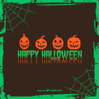 Pumpkin Felicitation Halloween Card Free Vector