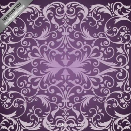 Purple Damask Pattern Background Free Vector