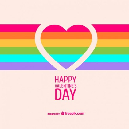 Rainbow Heart Valentine's Card Free Vector