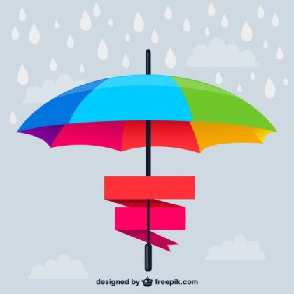 Rainbow Umbrella Banner Free Vector