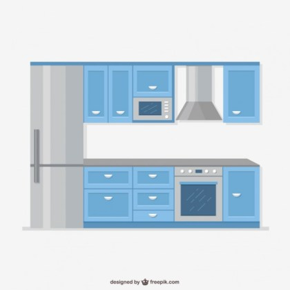 Realistic Kitchen Furniture Free Vector