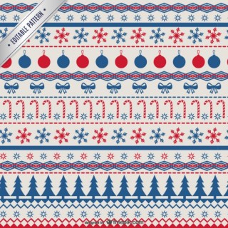 Red and Blue Christmas Pattern Free Vector
