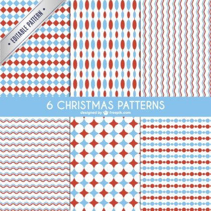 Red and Blue Christmas Patterns Free Vector
