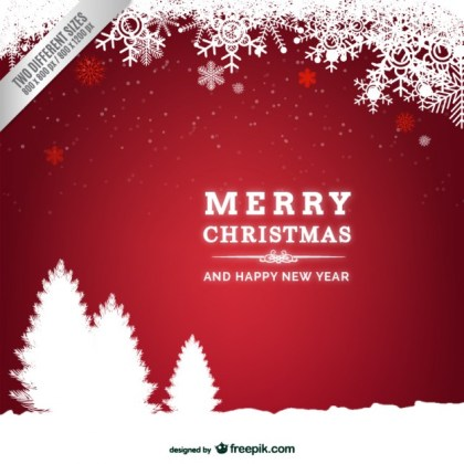 Red and White Christmas Card with Trees Silhouettes Free Vector