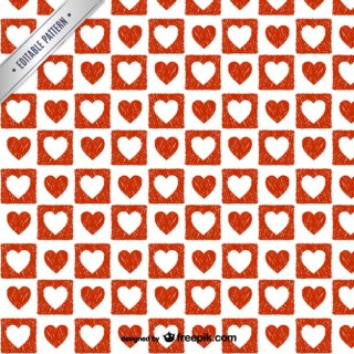 Red and White Hearts Pattern Free Vector