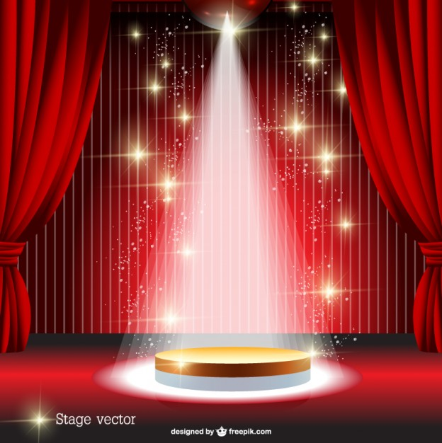 Red Curtain Spotlight Stage Free Vector