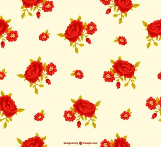 Red Flowers Background Pattern Free Vector