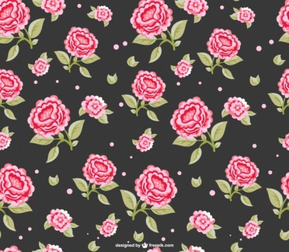 Red Roses Dark Seamless Pattern Free Vector