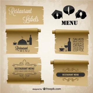 Restaurant Menu Vintage Paper Labels Set Free Vector