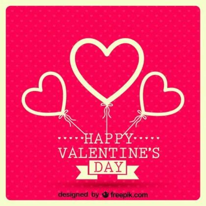 Retro Balloon Hearts Valentine's Day Card Design Free Vector