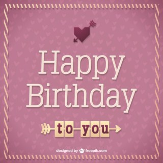 Retro Birthday Card Free Vector
