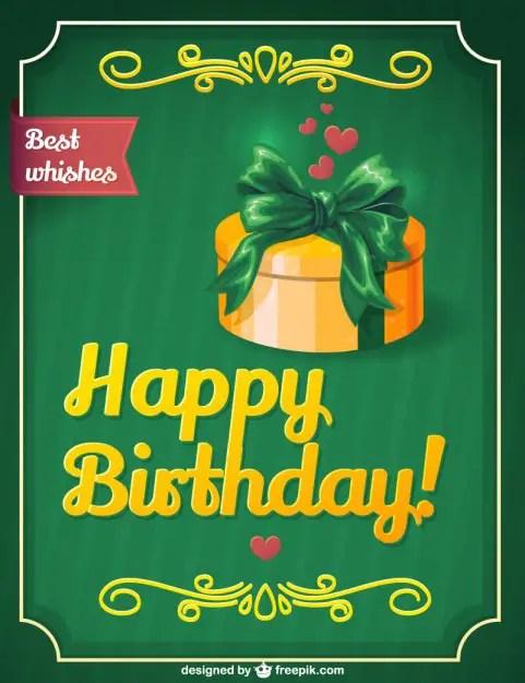 Retro Birthday Gift Card Design Free Vector