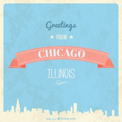 Retro Chicago Greeting Card Free Vector