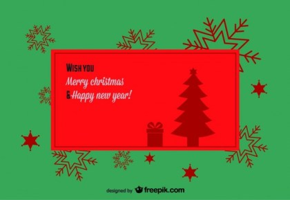 Retro Christmas Banner with A Snowflakes Background Free Vector