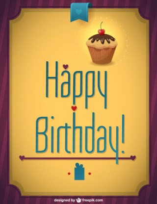 Retro Cupcake Happy Birthday Free Vector