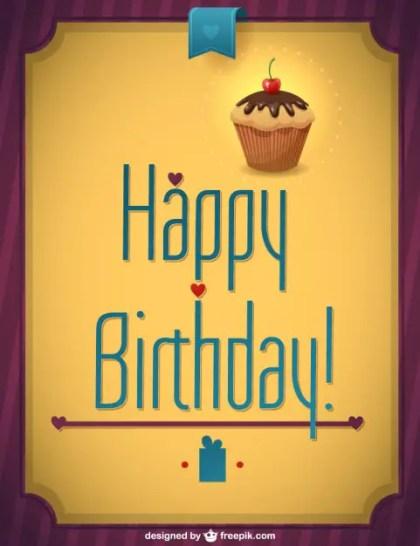 Retro Cupcake Happy Birthday Free Vector