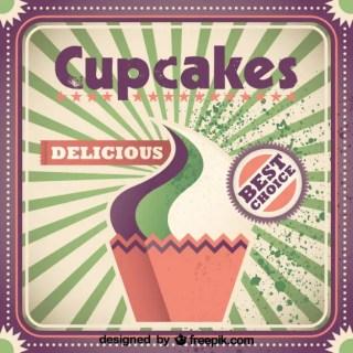 Retro Cupcake Poster Design Free Vector