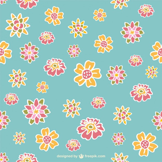 Retro Flowers Pattern Design Free Vector