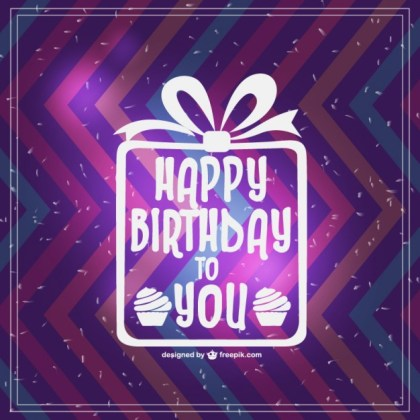 Retro Happy Birthday Card Design Free Vector