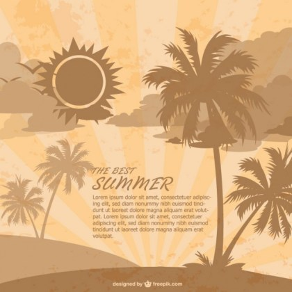 Retro Summer Beach Template Free Vector
