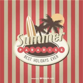 Retro Summer Paradise Background Free Vector