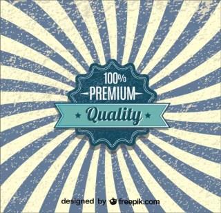 Retro Sunburst Quality Badge Blue Poster Design Free Vector