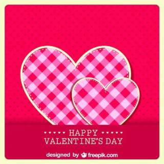 Retro Valentine's Card Fabric Hear Design Free Vector
