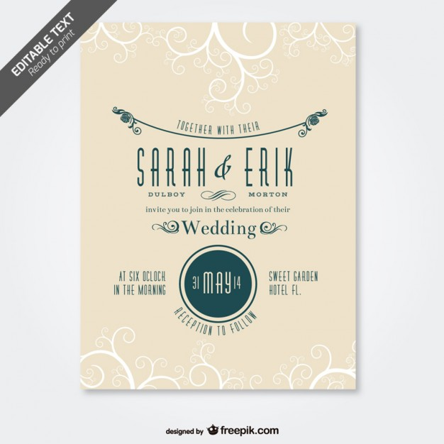 Retro Wedding Card Swirl Design Free Vector Preview