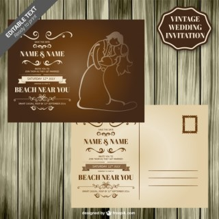 Retro Wedding Card Wood Design Free Vector