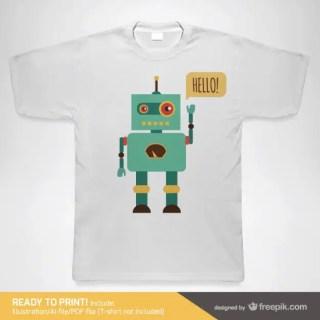 Robot T-Shirt Template Free Vector