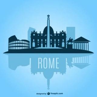 Rome Cityscape Silhouette Free Vector