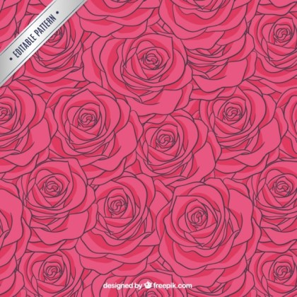 Roses Pattern in Hot Pink Tone Free Vector