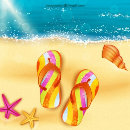 Sandals on The Sand Free Vector