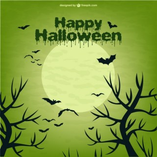 Scene of Halloween with Moon and Bats Free Vector
