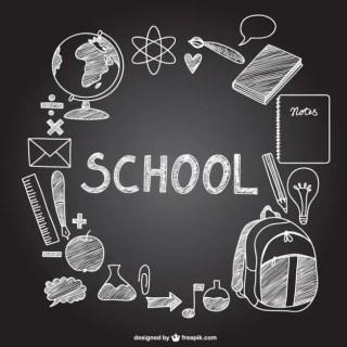 School Icons on Chalkboard Free Vector