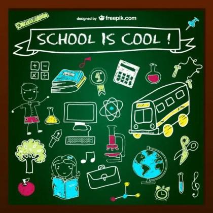 School is Cool Chalkboard Design Free Vector