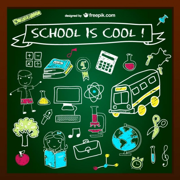 School is Cool Chalkboard Design Free Vector