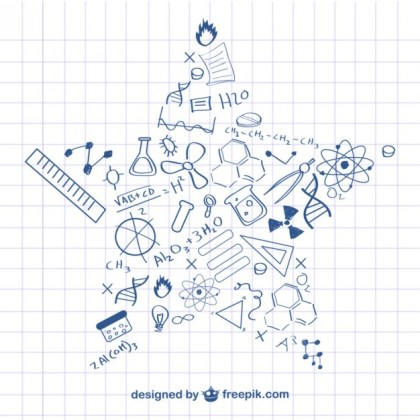 Science Star Shape Doodles Free Vector