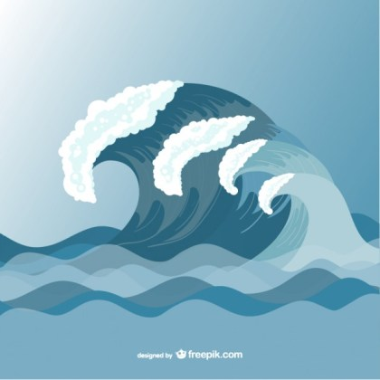 Sea Waves Drawing Template Free Vector