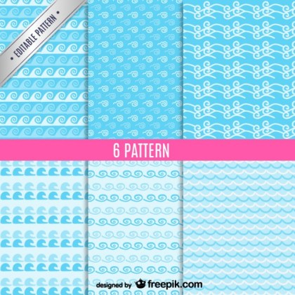 Sea Waves Seamless Patterns Set Free Vector