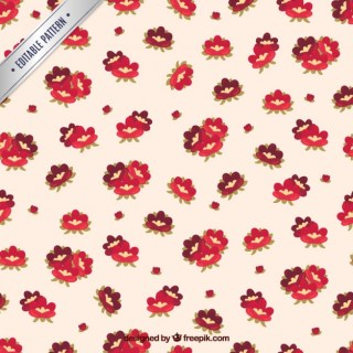 Seamless Pattern with Red Flowers Free Vector