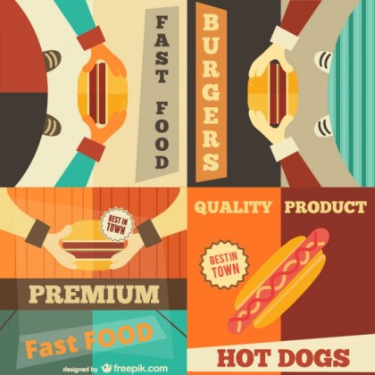 Set of Fast Food Retro Advertising Posters Free Vector