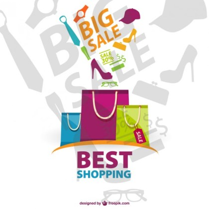 Shopping Bags Illustration Free Vector